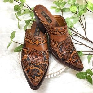 Rare Hand Crafted Liberty Boot Leather Mules